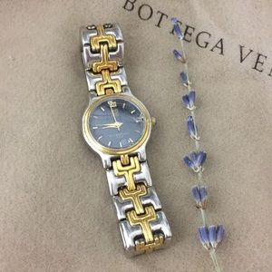 GIVENCHY VINTAGE Dual Tone Chain Wrist Watch Sv Gd